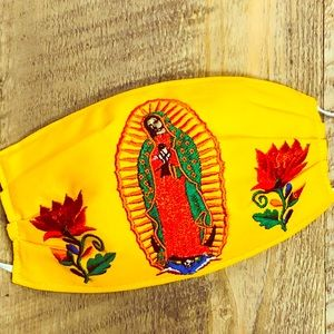 Our Lady of Guadalupe Face Mask Yellow Embroidered
